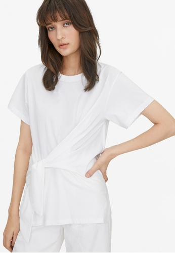 Pomelo white Oversized Side Knot Tee - White 81ED8AAC392129GS_1