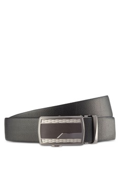 Brown Leather Belt With Automatic Buckle