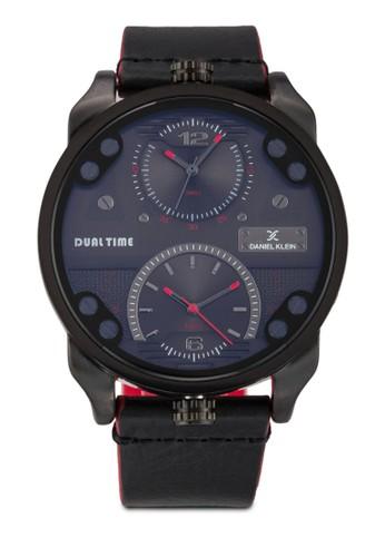 44mmzalora是哪裡的牌子 DK11125-3 雙顯示皮革錶帶不銹鋼圓錶, 錶類, 飾品配件