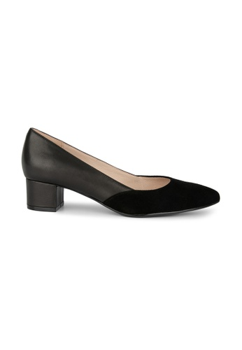 MAUD FRIZON black Kid Suede & Leather Material Blocking Pointy Toe Pump 71F64SH5B41483GS_1