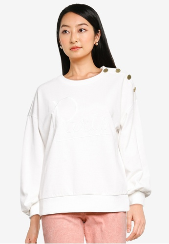 JACQUELINE DE YONG white Louisiana Long Sleeves Button Embroidery Sweatshirt 35FF3AA22B2A9CGS_1