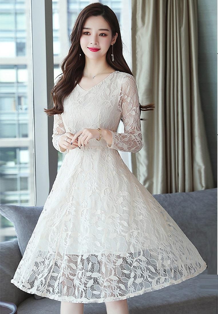 Slim Lace Beige A W Halo Dress wCPO5q