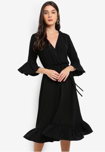 ZALORA black Fluted Sleeves V-Neck Dress 34228AA4C41B1CGS_1