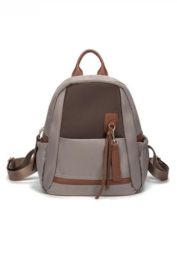 Twenty Eight Shoes brown Stylish Nylon Oxford Patch Faux Leather Backpack JW CL-C5248-L E3914ACD4E244DGS_1