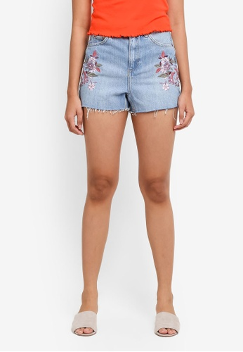 TOPSHOP blue Moto Embroidered Floral Mom Shorts 1BB95AA907A6F9GS_1