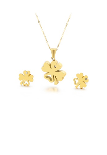 Glamorousky 白色 優雅時尚鍍金色四葉草鋯石316L鋼項鏈和耳釘套裝 2957DAC70B2984GS_1