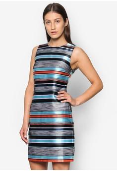 提花條紋直筒連身裙