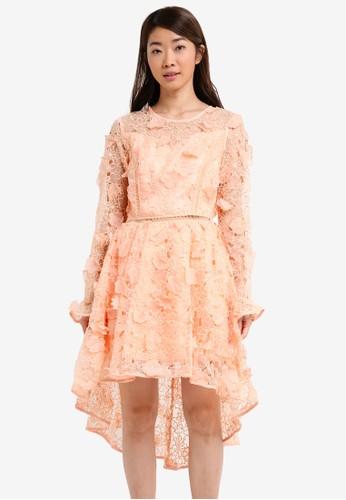 True Decadence orange Long Sleeved Midi Lace Dress 9D96CAA169853FGS_1