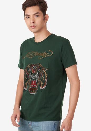 "Ed Hardy green Ed Hardy ""RoaringTiger"" Rhinestone Embroidered Round Neck Tee E8421AA0320FAEGS_1"