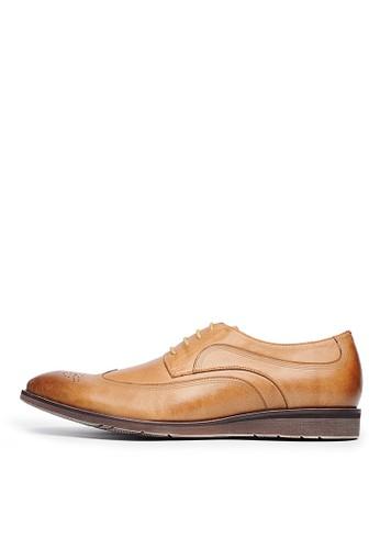 頭層打蠟牛皮。經典葉紋雕花牛津鞋-0466esprit官網9-棕色, 鞋, 皮鞋