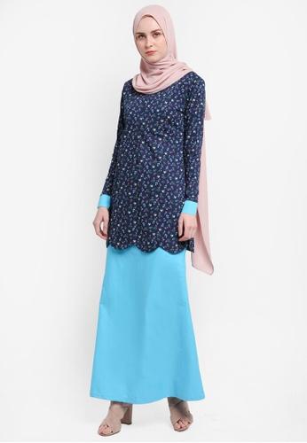 Azka Collection blue and multi Scallop Modern Kurung A24EAAADF4092BGS_1