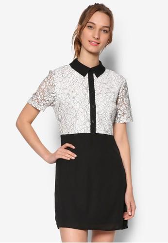撞色拼接襯衫連身esprit台灣官網裙, 服飾, 洋裝