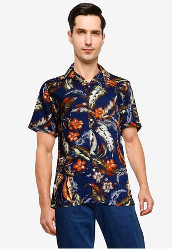 SUPERDRY navy Hawaiian Box Short Sleeve Shirt 649F4AA864A41EGS_1