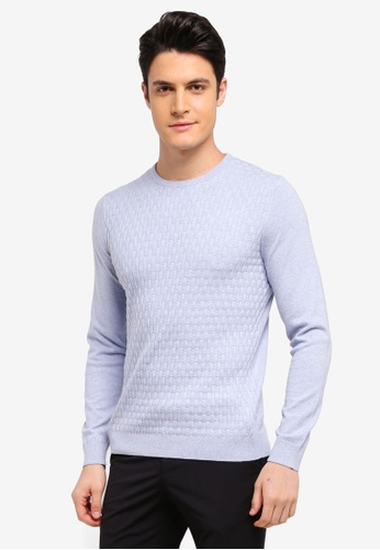 Burton Menswear London blue Blue Patterned Crew Neck Knitted Jumper 5423BAAF6D7945GS_1