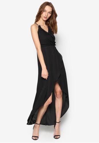 波紋不對稱裙擺細肩無zalora 心得袖連身裙, 服飾, 洋裝