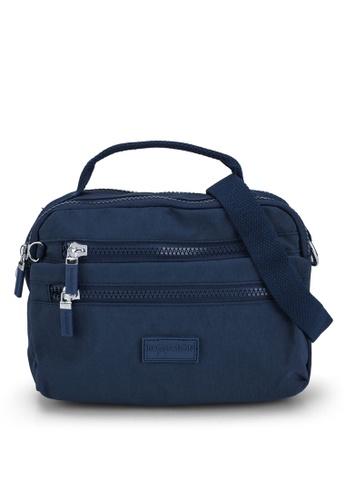 Bagstationz navy Crinkled Nylon Convertible Satchel Bag 5DC31AC6136C77GS_1