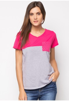 Color Block Short Sleeve Basic Tee with Patch Pocket
