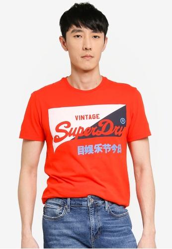 Superdry orange Vintage Logo Primary Tee 39AE5AABF38243GS_1