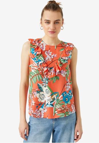 KOTON orange Floral Ruffle Top 8B2D6AAA8DB808GS_1