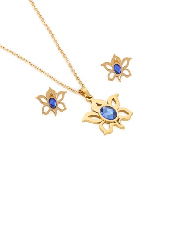 Glamorousky blue Fashion and Elegant Plated Gold Flower 316L Stainless Steel Necklace and Stud Earrings with Blue Cubic Zirconia 7FB01ACC80B071GS_1