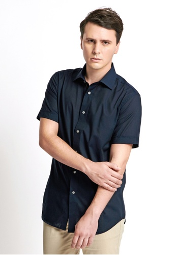 Gay Giano navy Solid Button Down Short Sleeves Shirt 1CF30AABC8F5AEGS_1