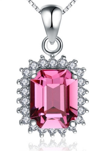 LYCKA pink LPP03607 S925 Silver Pink Cystal Necklace E2219AC372914AGS_1