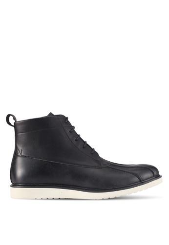 ZALORA black Faux Leather Lace-Up Boots 120D0SH5DD4CBEGS_1