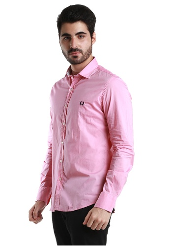 """Fred Perry Green Label pink and blue Pink Long Sleeve Shirt with Navy """"laurel"""" FR595AA32VVFMY_1"""
