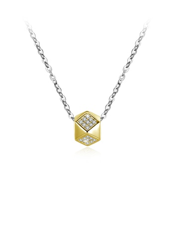 Glamorousky white 925 Sterling Silver Fashion Simple Geometric Pendant with Cubic Zircon and Necklace 35A6AAC4D6E84CGS_1