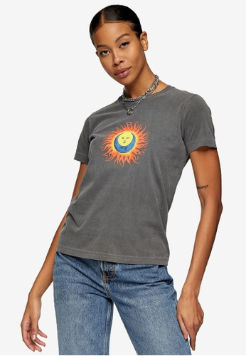 TOPSHOP black PETITE Black Flaming Sun T-Shirt 42BC7AA38F060AGS_1