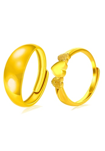YOUNIQ gold YOUNIQ Premium Smooch Eternal 24K Plated Ring Set- Couple Rings (Gold) CB9E0ACFC438C8GS_1