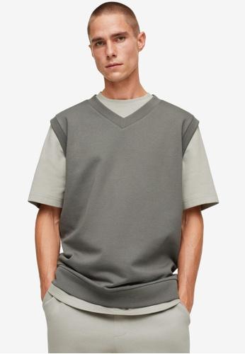 MANGO Man brown V-Neck Cotton Vest AB639AA7E5A2A4GS_1
