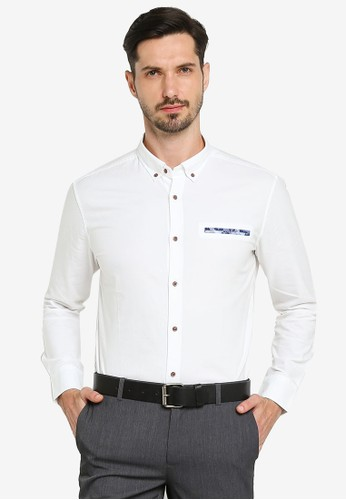 G2000 white Pocket Print Long Sleeve Shirt 13762AAEC53E62GS_1