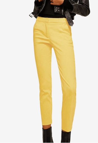Mango yellow Straight Linen-Blend Trousers D4F21AA73D387AGS_1