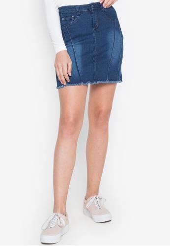 Ninety Nine Point Nine Boutiq blue Denim Faded High-Waist Frayed Mini Skirt 8CA8FAA3CA8FC0GS_1