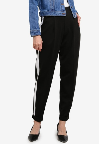 Miss Selfridge black and multi Jersey Side Stripe Joggers 3DABBAA227324DGS_1