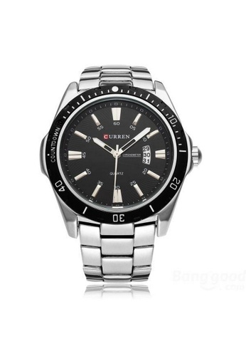 curren black and silver Curren 8110 Men's Stainless Steel Watch (Silver Black) CU537AC10RQVMY_1