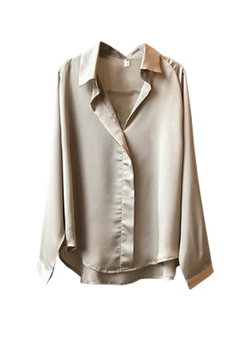 Twenty Eight Shoes gold VANSA Shiny Satin Long Sleeve Shirts  VCW-Sh0322 1ED1DAACF9326FGS_1