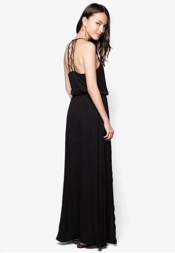 金屬飾開衩長洋裝, 服飾, zalora taiwan 時尚購物網服飾