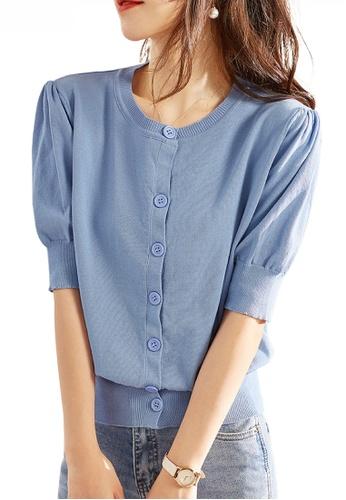 HAPPY FRIDAYS 藍色 泡泡中袖針織衫 JW ZX-60218 EBA25AA213F473GS_1