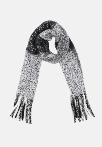 London Rag black and white Black & white Fringed edge scarf F6C5CAA2E20AC0GS_1