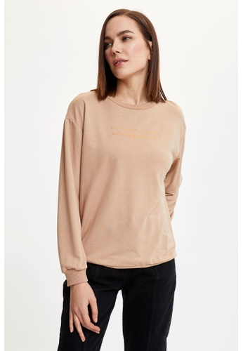 DeFacto gold Woman Knitted Sweat Shirt CC795AA88EAEB4GS_1