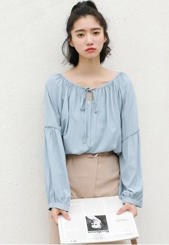 Shopsfashion blue Tie Up Collar Blouse in Blue E2FEEAA671254CGS_1