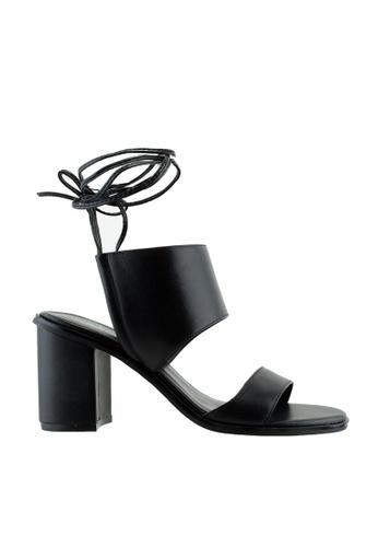 eq:iq black eqJESSIE 2 Strap Block Heel Sandals EQ351SH16YOHSG_1
