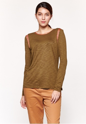 Sisley green Lurex T-shirt 6DB87AA4AEF4B4GS_1