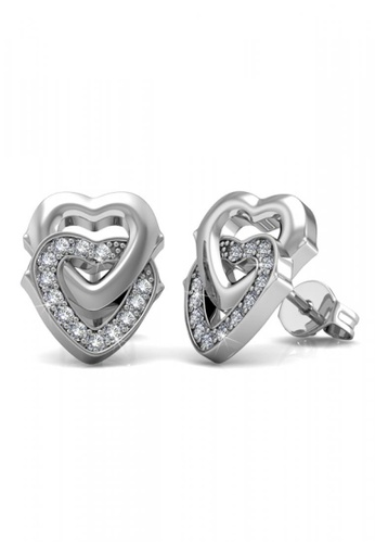 Her Jewellery silver Her Jewellery 2 Hearts Earrings with 18K Gold Plated EF2ABAC1515764GS_1
