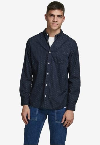 Jack & Jones navy Windsor Long Sleeves One Pocket Shirt FF73FAAB61337CGS_1