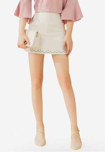 Eyescream white Embroidery Hem Mini Skirt A79F8AA2A6FE90GS_1