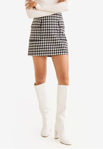 MANGO black Houndstooth Skirt 7783DAA1F09B85GS_1