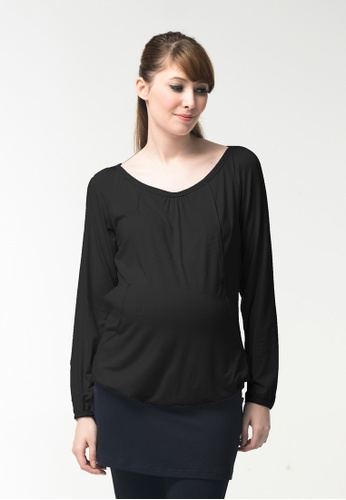 Bove by Spring Maternity black Knitted Long Sleeves Valma Gather Top 30897AA06C7D75GS_1